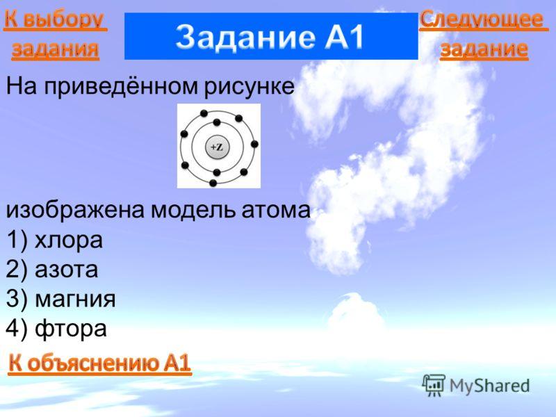На приведённом рисунке изображена модель атома 1) хлора 2) азота 3) магния 4) фтора