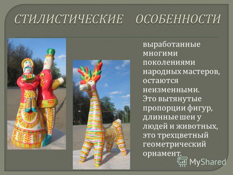выработанные многими поколениями народных мастеров, остаются неизменными. Это вытянутые пропорции фигур, длинные шеи у людей и животных, это трехцветный геометрический орнамент.