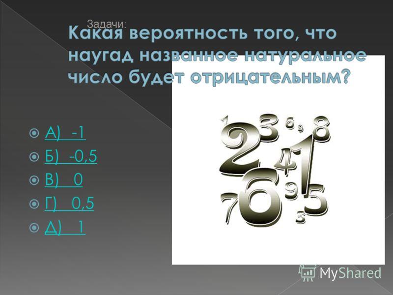 А) -1 Б) -0,5 В) 0 Г) 0,5 Д) 1 Задачи: