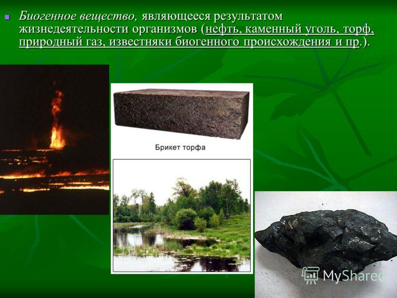 Биогенное вещество, являющееся результатом жизнедеятельности организмов (нефть, каменный уголь, торф, природный газ, известняки биогенного происхождения и пр.). Биогенное вещество, являющееся результатом жизнедеятельности организмов (нефть, каменный