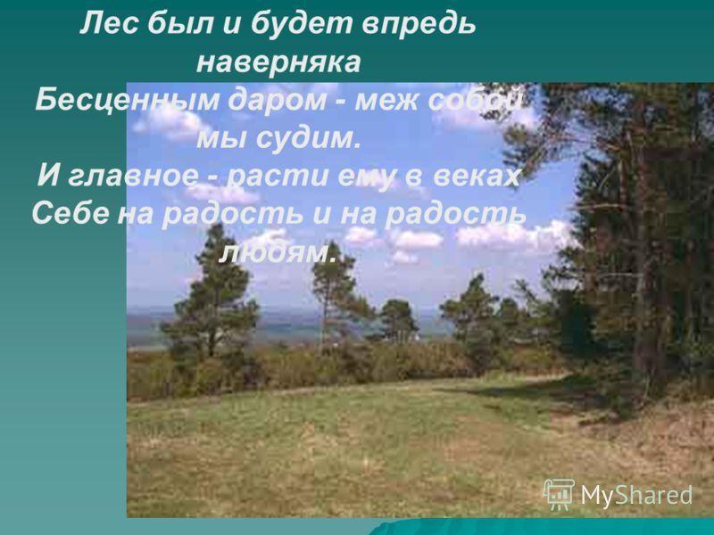 Лес был и будет впредь наверняка Бесценным даром - меж собой мы судим. И главное - расти ему в веках Себе на радость и на радость людям.