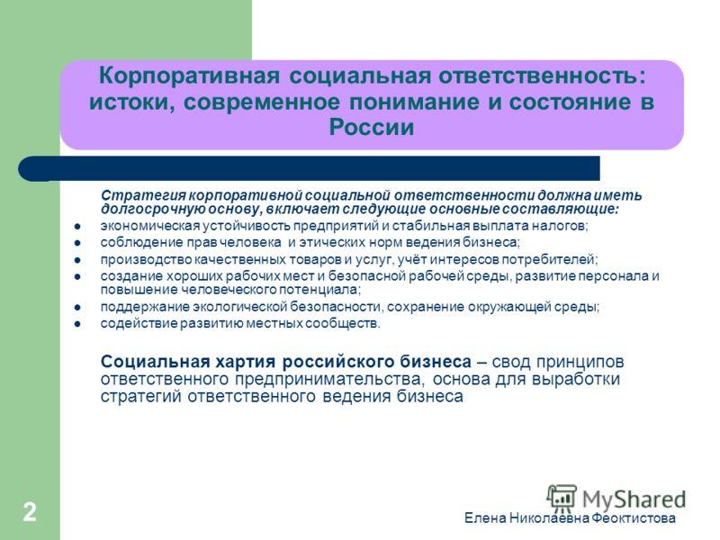 Елена Николаевна Феоктистова 2 Корпоративная социальная ответственность: истоки, современное понимание и состояние в России Стратегия корпоративной социальной ответственности должна иметь долгосрочную основу, включает следующие основные составляющие:
