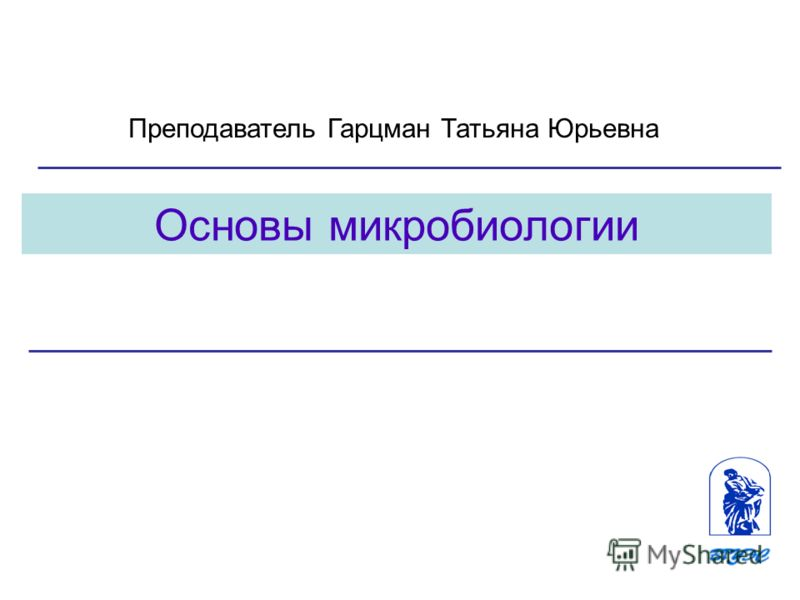 1 Основы микробиологии Преподаватель Гарцман Татьяна Юрьевна