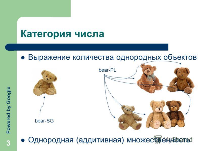 3 Категория числа Выражение количества однородных объектов Однородная (аддитивная) множественность bear-SG bear-PL Powered by Google