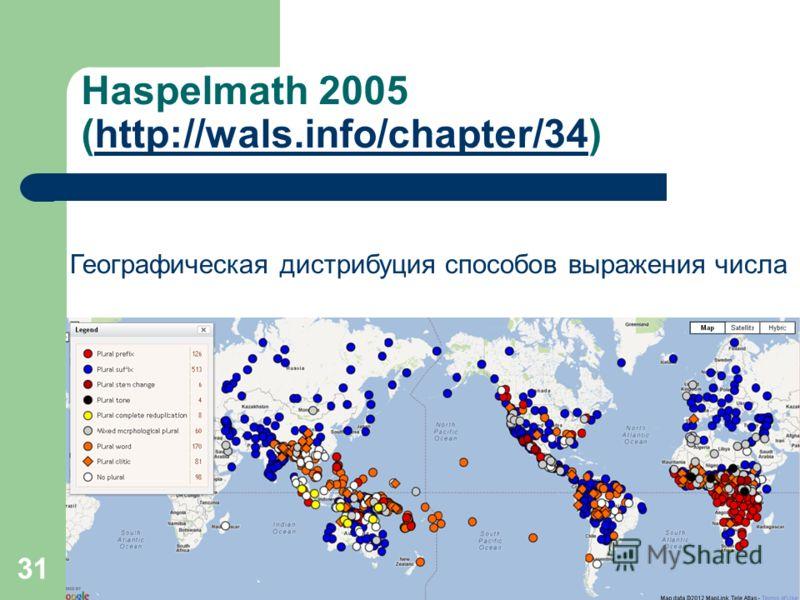 31 Haspelmath 2005 (http://wals.info/chapter/34)http://wals.info/chapter/34 Географическая дистрибуция способов выражения числа
