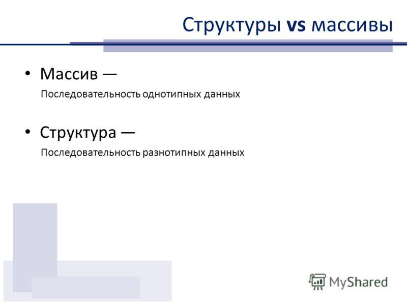Структуры vs массивы Массив Последовательность однотипных данных Структура Последовательность разнотипных данных