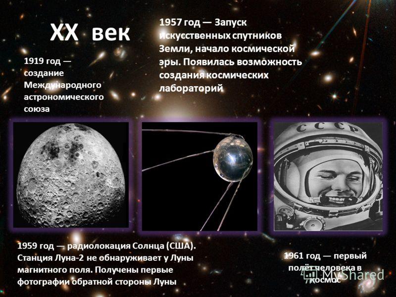 XX век 1919 год создание Международного астрономического союза 1957 год Запуск искусственных спутников Земли, начало космической эры. Появилась возможность создания космических лабораторий 1959 год радиолокация Солнца (США). Станция Луна-2 не обнаруж