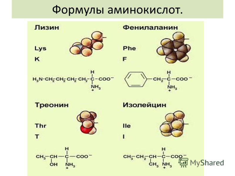Формулы аминокислот.