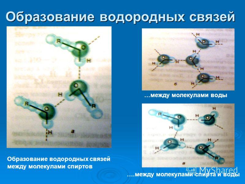 Образование водородных связей Образование водородных связей между молекулами спиртов …между молекулами воды ….между молекулами спирта и воды