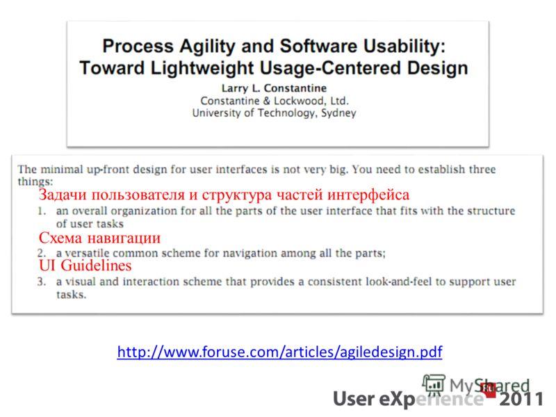 http://www.foruse.com/articles/agiledesign.pdf Задачи пользователя и структура частей интерфейса Схема навигации UI Guidelines
