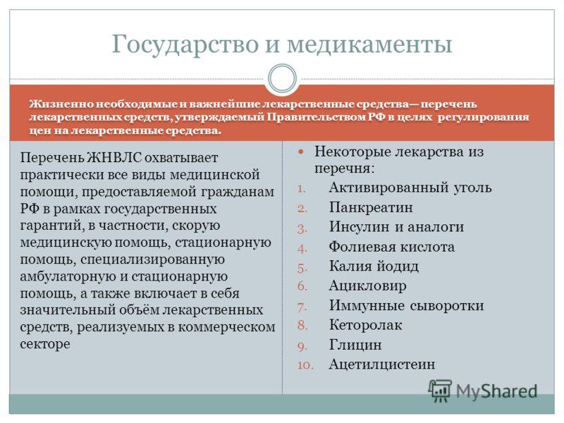 Жизненно необходимые и важнейшие лекарственные средства перечень лекарственных средств, утверждаемый Правительством РФ в целях регулирования цен на лекарственные средства. Некоторые лекарства из перечня: 1. Активированный уголь 2. Панкреатин 3. Инсул