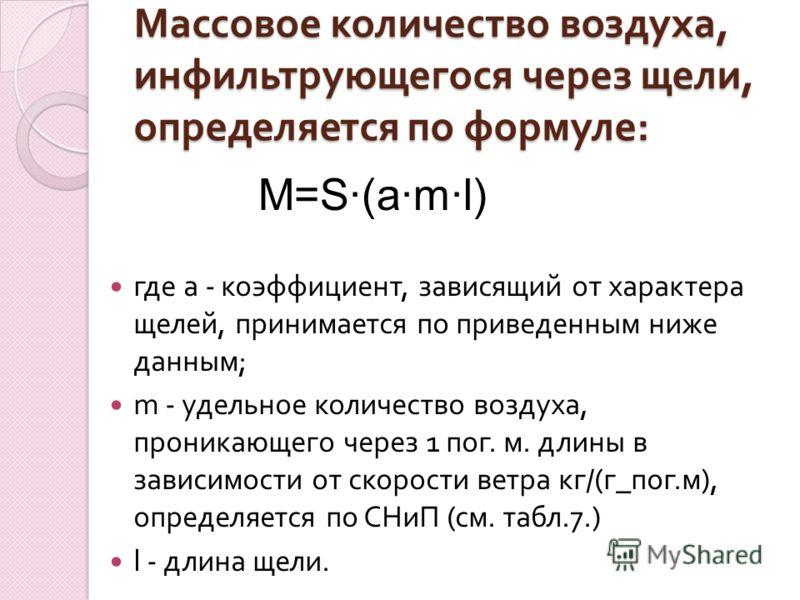 Массовое количество воздуха, инфильтрующегося через щели, определяется по формуле : где а - коэффициент, зависящий от характера щелей, принимается по приведенным ниже данным ; m - удельное количество воздуха, проникающего через 1 пог. м. длины в зави