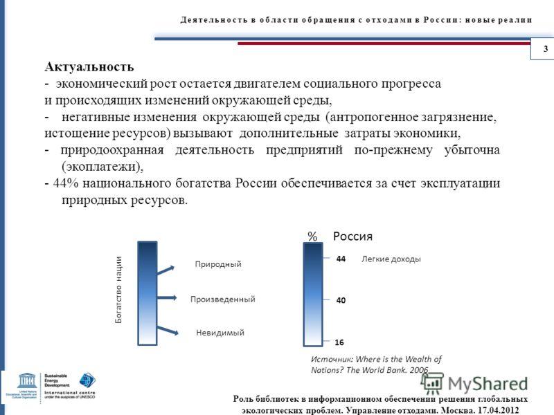 Деятельность в области обращения с отходами в России: новые реалии Актуальность - экономический рост остается двигателем социального прогресса и происходящих изменений окружающей среды, -негативные изменения окружающей среды (антропогенное загрязнени