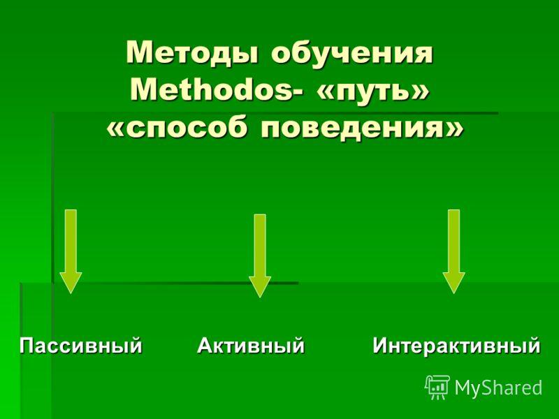 Методы обучения Methodos- «путь» «способ поведения» Пассивный Активный Интерактивный