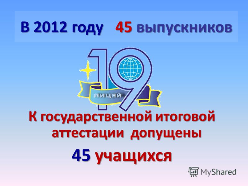 В 2012 году 45 выпускников К государственной итоговой аттестации допущены 45 учащихся