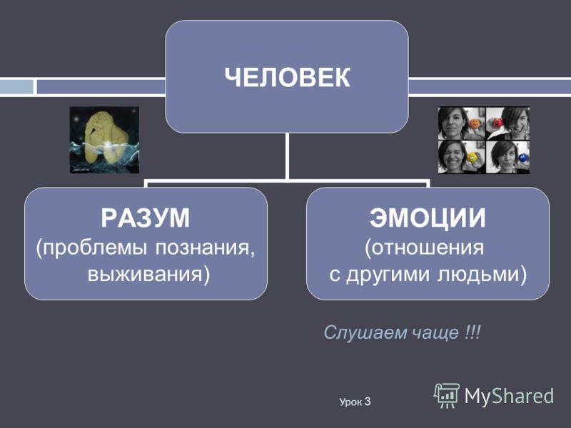 Урок 3 ЧЕЛОВЕК РАЗУМ (проблемы познания, выживания) ЭМОЦИИ (отношения с другими людьми) Слушаем чаще !!!