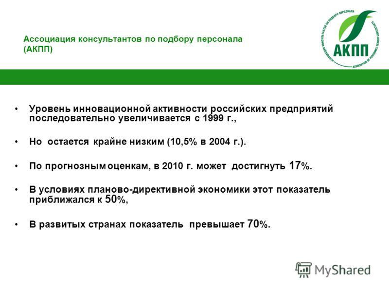 Ассоциация консультантов по подбору персонала (АКПП) Уровень инновационной активности российских предприятий последовательно увеличивается с 1999 г., Но остается крайне низким (10,5% в 2004 г.). По прогнозным оценкам, в 2010 г. может достигнуть 17 %.
