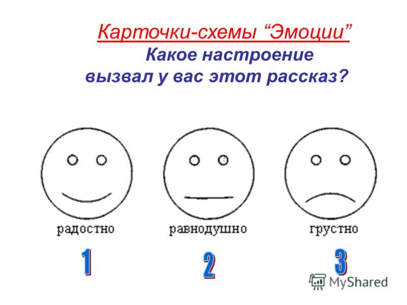 Карточки-схемы Эмоции Какое настроение вызвал у вас этот рассказ?