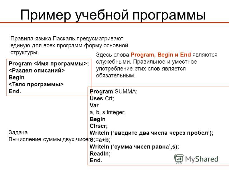 Пример учебной программы Program ; Begin End. Правила языка Паскаль предусматривают единую для всех программ форму основной структуры: Здесь слова Program, Begin и End являются служебными. Правильное и уместное употребление этих слов является обязате