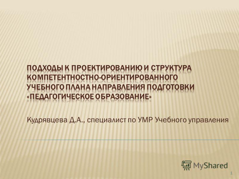 Кудрявцева Д.А., специалист по УМР Учебного управления 1