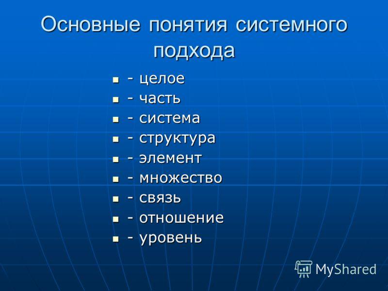 Основные понятия системного подхода - целое - целое - часть - часть - система - система - структура - структура - элемент - элемент - множество - множество - связь - связь - отношение - отношение - уровень - уровень