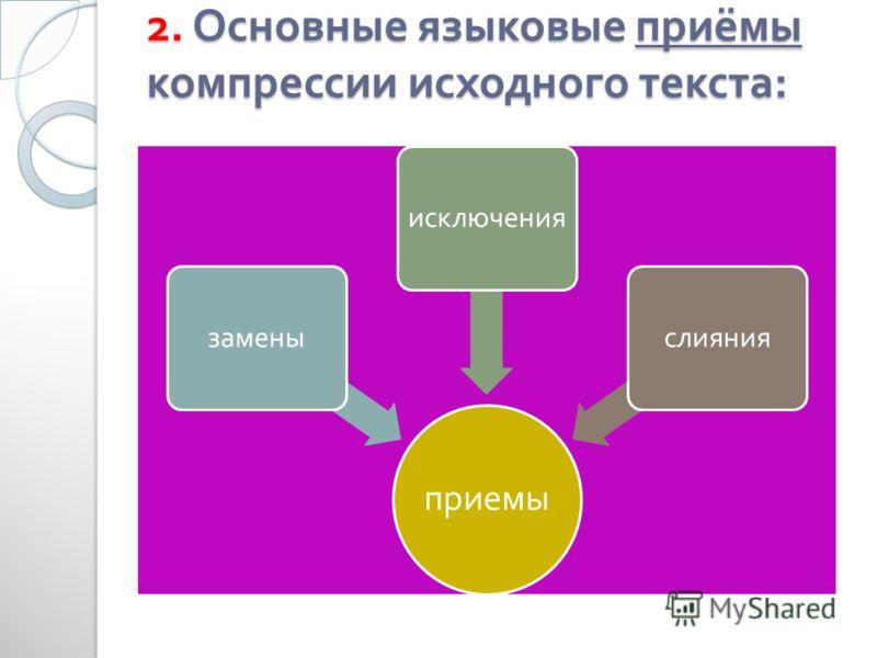 2. Основные языковые приёмы компрессии исходного текста : приемы заменыисключенияслияния
