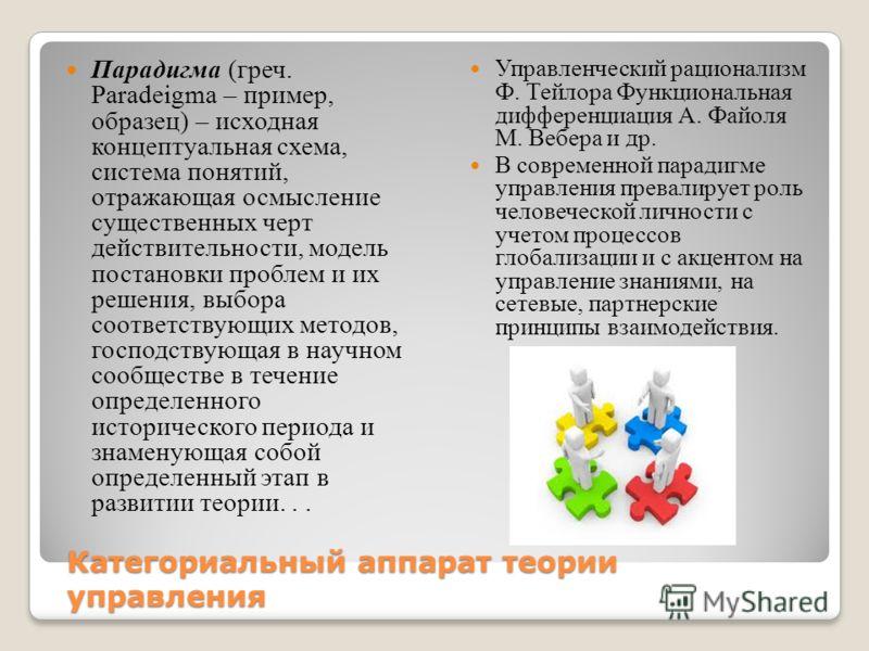 Категориальный аппарат теории управления Парадигма (греч. Paradeigma – пример, образец) – исходная концептуальная схема, система понятий, отражающая осмысление существенных черт действительности, модель постановки проблем и их решения, выбора соответ