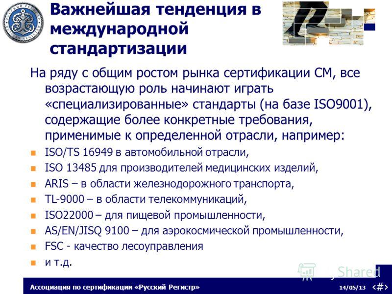 14 14/05/13 Ассоциация по сертификации «Русский Регистр» На ряду с общим ростом рынка сертификации СМ, все возрастающую роль начинают играть «специализированные» стандарты (на базе ISO9001), содержащие более конкретные требования, применимые к опреде