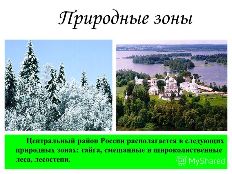 Природные зоны Центральный район России располагается в следующих природных зонах: тайга, смешанные и широколиственные леса, лесостепи.