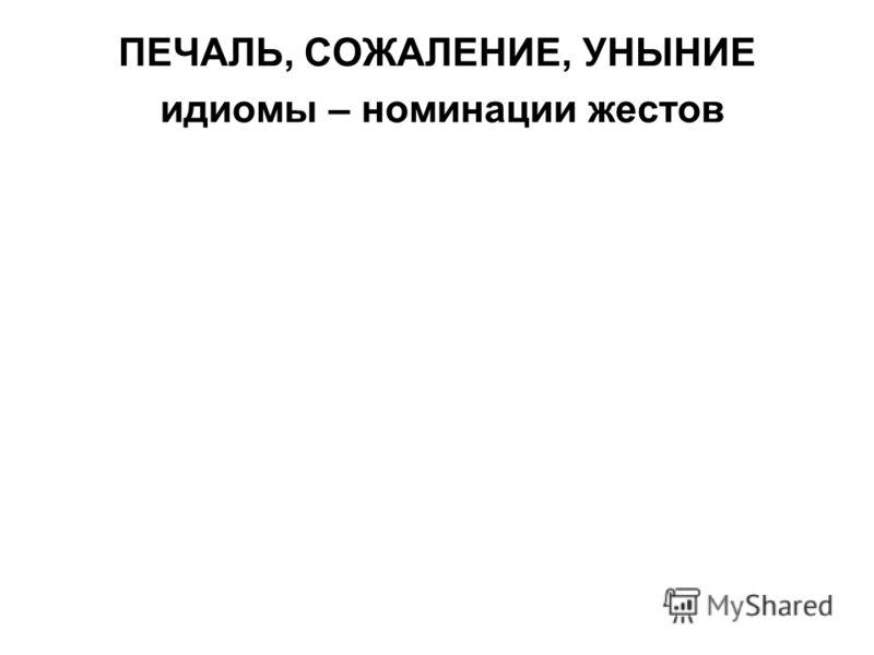 ПЕЧАЛЬ, СОЖАЛЕНИЕ, УНЫНИЕ идиомы – номинации жестов