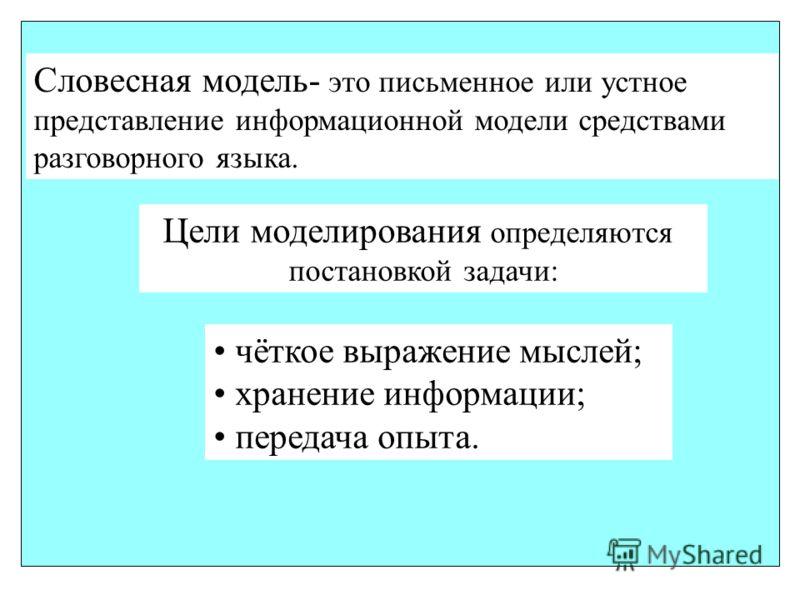 Словесная модель- это письменное или устное представление информационной модели средствами разговорного языка. Цели моделирования определяются постановкой задачи: чёткое выражение мыслей; хранение информации; передача опыта.