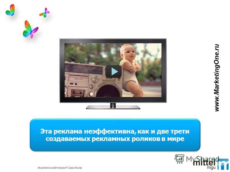 Illustrative add+impact ® Case Study Эта реклама неэффективна, как и две трети создаваемых рекламных роликов в мире www.MarketingOne.ru