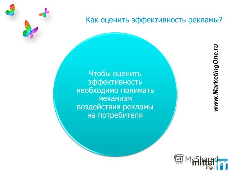 Как оценить эффективность рекламы? Чтобы оценить эффективность необходимо понимать механизм воздействия рекламы на потребителя www.MarketingOne.ru