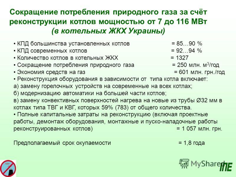 Сокращение потребления природного газа за счёт реконструкции котлов мощностью от 7 до 116 МВт (в котельных ЖКХ Украины) КПД большинства установленных котлов = 85…90 % КПД современных котлов = 92…94 % Количество котлов в котельных ЖКХ = 1327 Сокращени