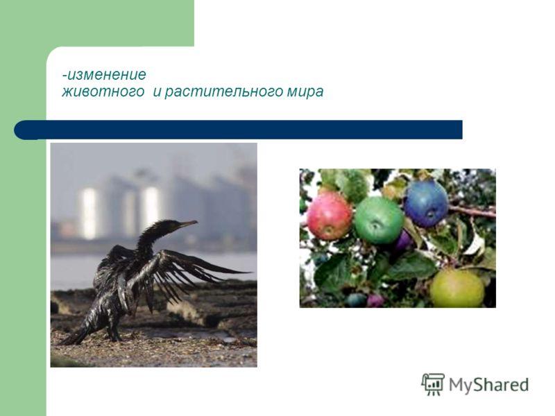 -изменение животного и растительного мира