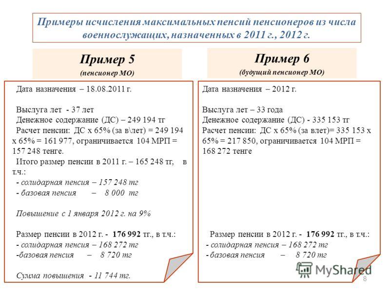 8 Примеры исчисления максимальных пенсий пенсионеров из числа военнослужащих, назначенных в 2011 г., 2012 г. Дата назначения – 2012 г. Выслуга лет – 33 года Денежное содержание (ДС) - 335 153 тг Расчет пенсии: ДС х 65% (за влет)= 335 153 х 65% = 217