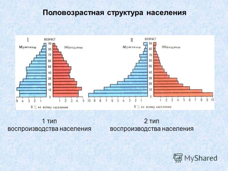 Половозрастная структура населения 1 тип воспроизводства населения 2 тип воспроизводства населения