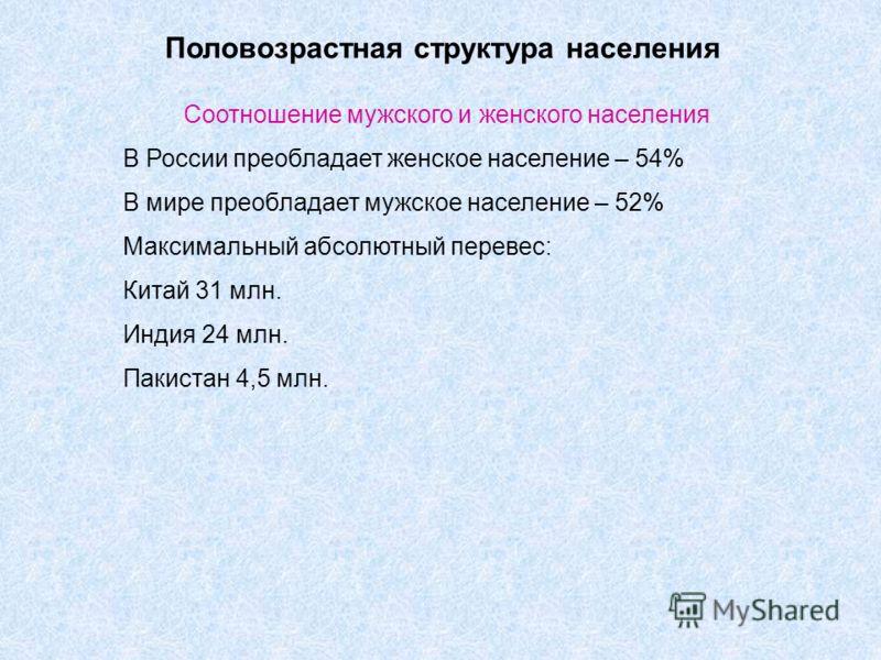 Половозрастная структура населения Соотношение мужского и женского населения В России преобладает женское население – 54% В мире преобладает мужское население – 52% Максимальный абсолютный перевес: Китай 31 млн. Индия 24 млн. Пакистан 4,5 млн.