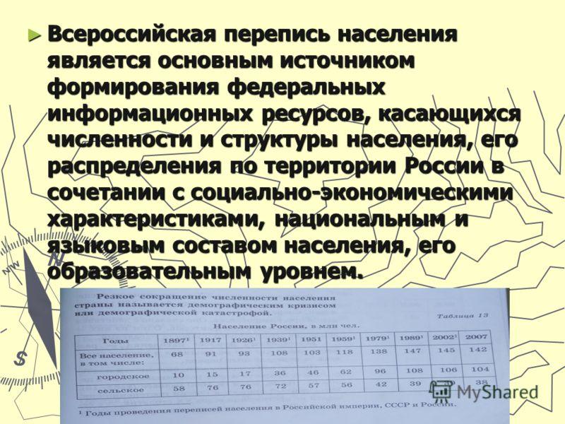 Всероссийская перепись населения является основным источником формирования федеральных информационных ресурсов, касающихся численности и структуры населения, его распределения по территории России в сочетании с социально-экономическими характеристика
