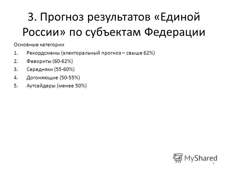3. Прогноз результатов «Единой России» по субъектам Федерации 8 Основные категории 1.Рекордсмены (электоральный прогноз – свыше 62%) 2.Фавориты (60-62%) 3.Середняки (55-60%) 4.Догоняющие (50-55%) 5.Аутсайдеры (менее 50%)