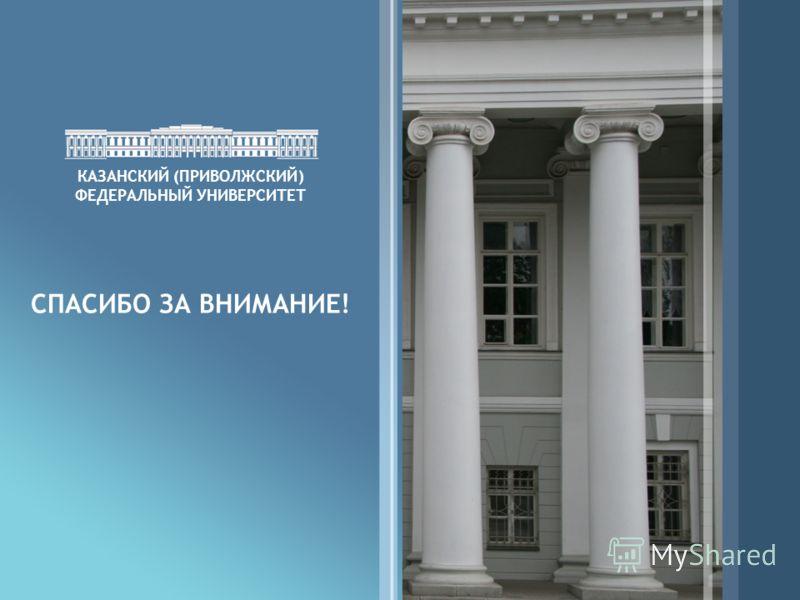 15 КАЗАНСКИЙ (ПРИВОЛЖСКИЙ) ФЕДЕРАЛЬНЫЙ УНИВЕРСИТЕТ СПАСИБО ЗА ВНИМАНИЕ!