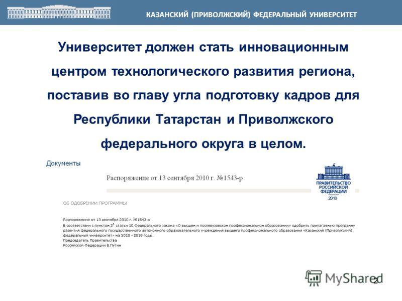 22 Университет должен стать инновационным центром технологического развития региона, поставив во главу угла подготовку кадров для Республики Татарстан и Приволжского федерального округа в целом. КАЗАНСКИЙ (ПРИВОЛЖСКИЙ) ФЕДЕРАЛЬНЫЙ УНИВЕРСИТЕТ