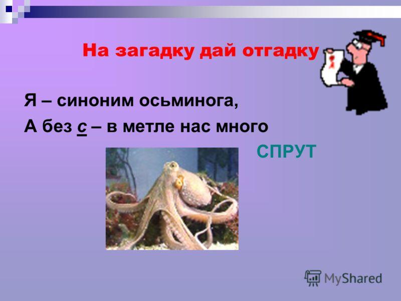 На загадку дай отгадку Я – синоним осьминога, А без с – в метле нас много СПРУТ