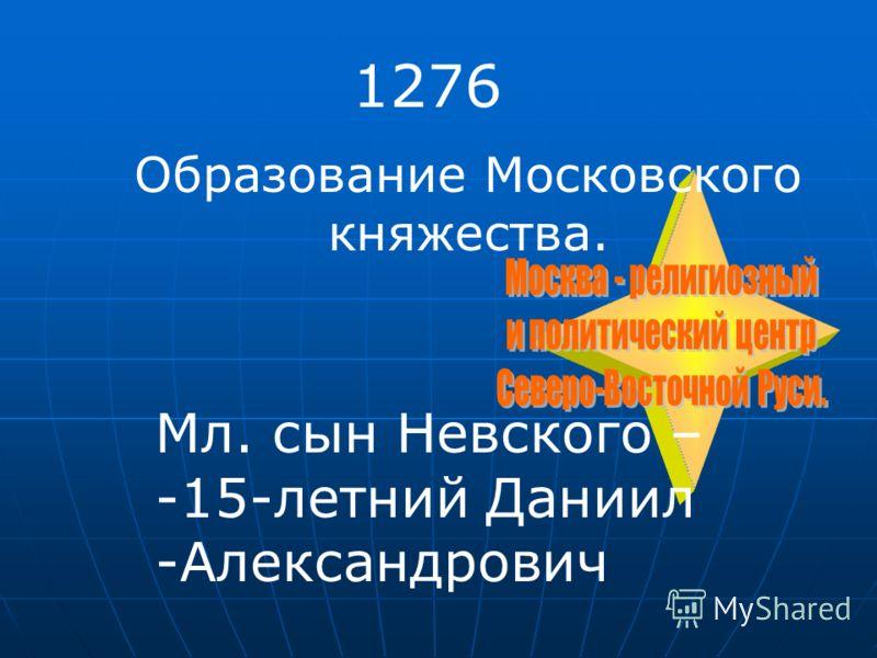 1276 Образование Московского княжества. Мл. сын Невского – -15-летний Даниил -Александрович