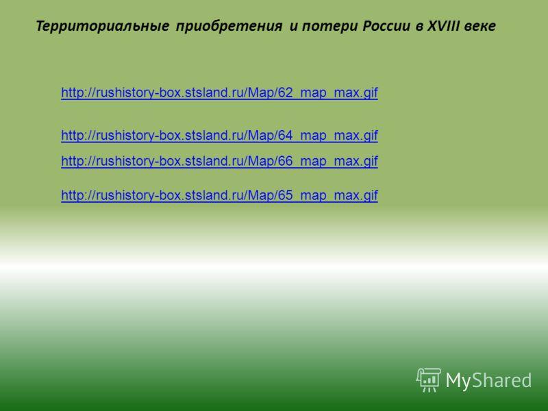 Территориальные приобретения и потери России в XVIII веке http://rushistory-box.stsland.ru/Map/62_map_max.gif http://rushistory-box.stsland.ru/Map/64_map_max.gif http://rushistory-box.stsland.ru/Map/65_map_max.gif http://rushistory-box.stsland.ru/Map