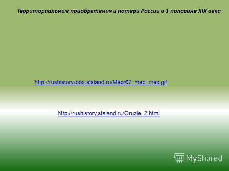 Территориальные приобретения и потери России в 1 половине XIX века http://rushistory-box.stsland.ru/Map/67_map_max.gif http://rushistory.stsland.ru/Oruzie_2.html