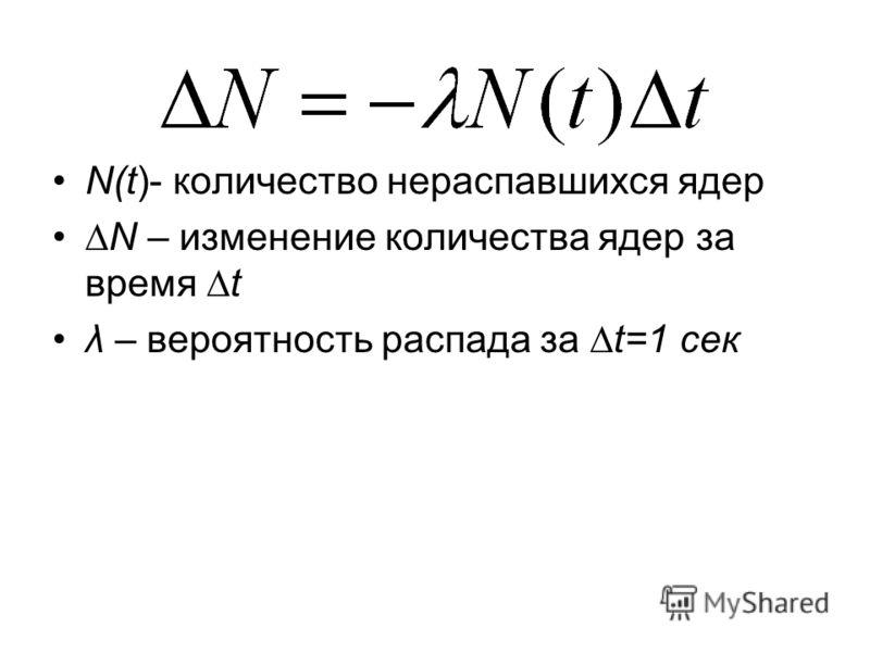 N(t)- количество нераспавшихся ядер N – изменение количества ядер за время t λ – вероятность распада за t=1 сек