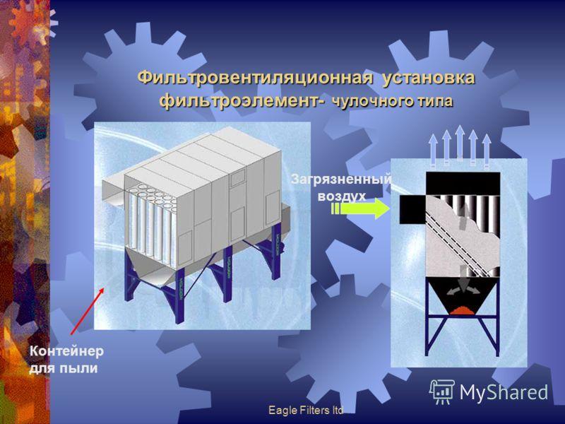 Eagle Filters ltd Фильтровентиляционная установка фильтроэлемент- чулочного типа Загрязненный воздух Контейнер для пыли