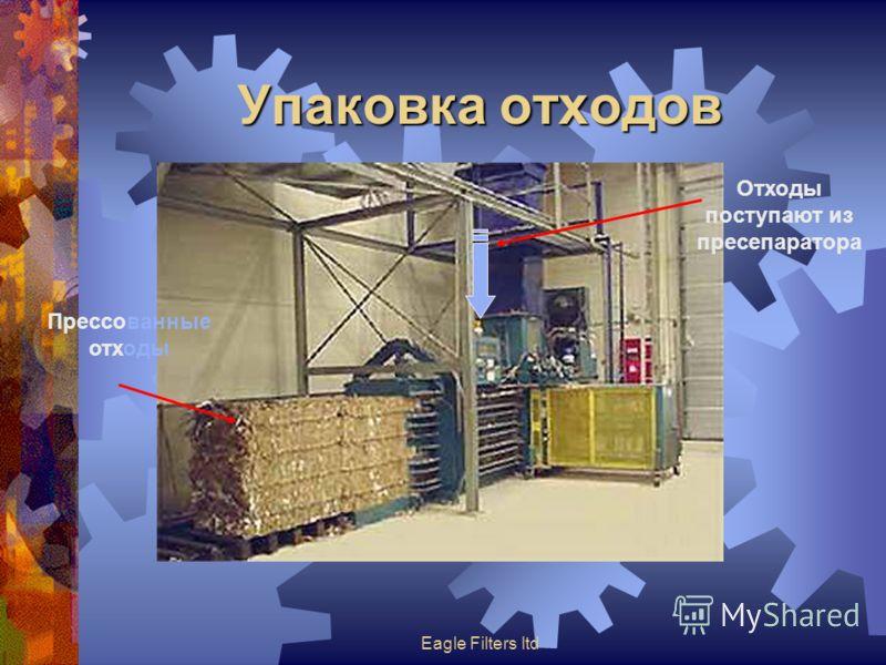 Eagle Filters ltd Упаковка отходов Прессованные отходы Отходы поступают из пресепаратора