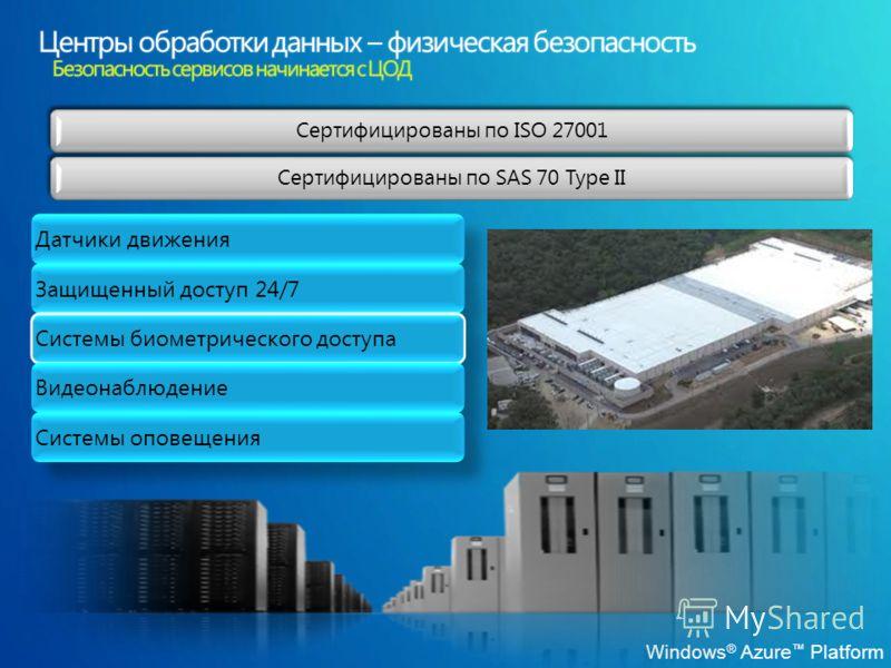 Windows ® Azure Platform Датчики движения Защищенный доступ 24/7 Системы биометрического доступа Видеонаблюдение Системы оповещения Сертифицированы по ISO 27001 Сертифицированы по SAS 70 Type II